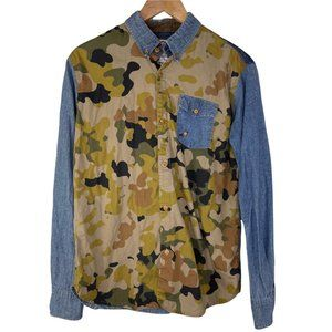 Staple Rugged Outdoors Pigeon Camouflage Denim Button Down Shirt Hunting Men's M